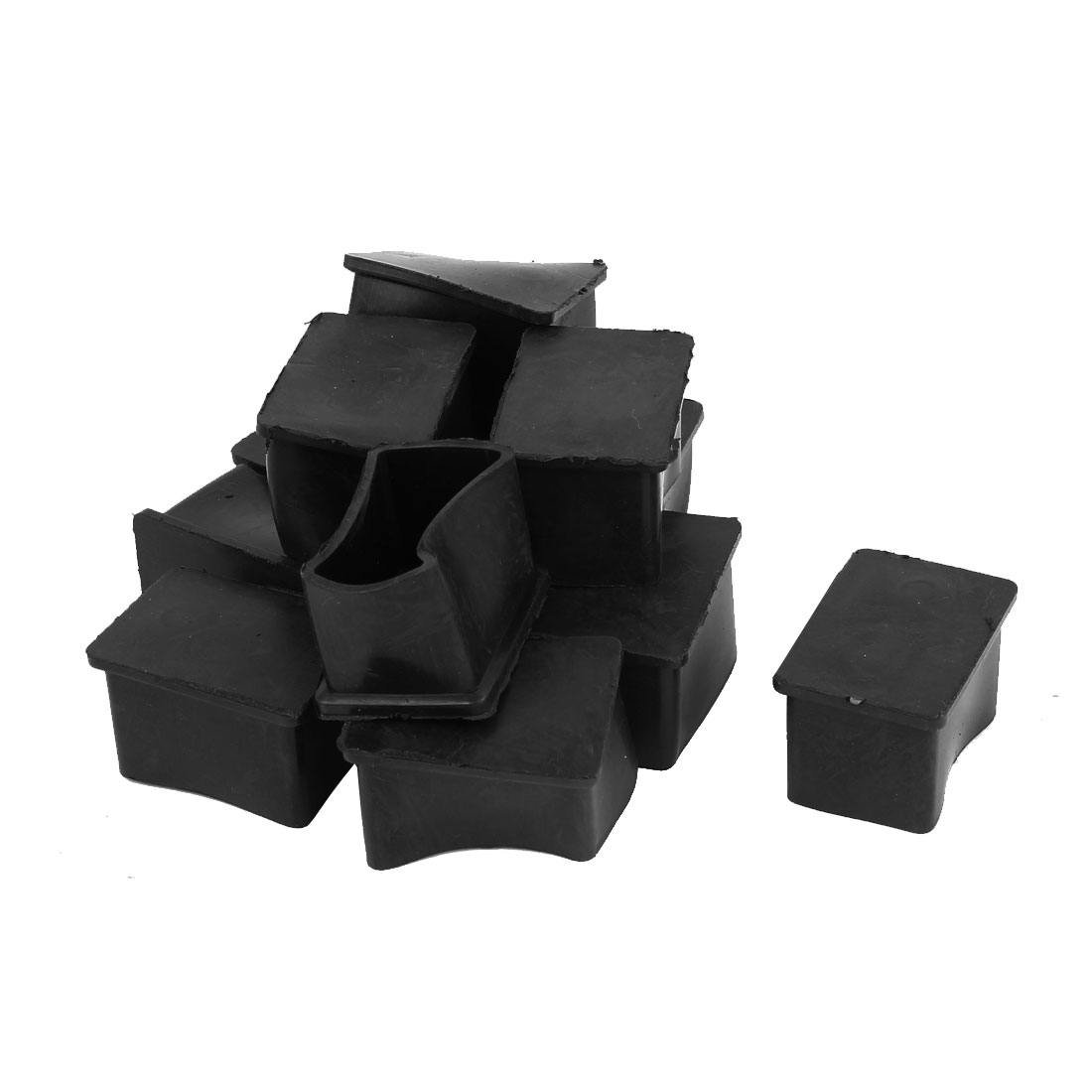 Furniture Table Rubber Square Leg Foot Cover Holder 38mm x 25mm 12 Pcs
