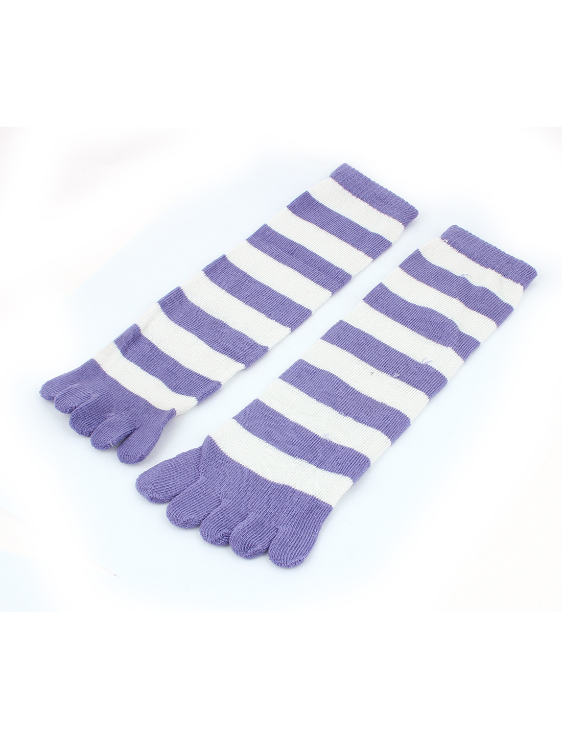 Women Stripes Pattern Elastic Ankle Length Five Fingers Full Toe Socks Purple Pair