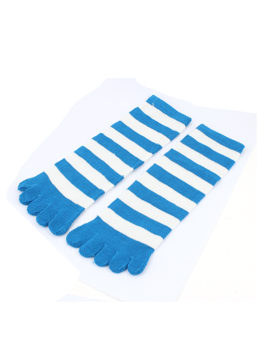 Women Stripes Pattern Elastic Ankle Length Five Fingers Full Toe Socks Blue Pair