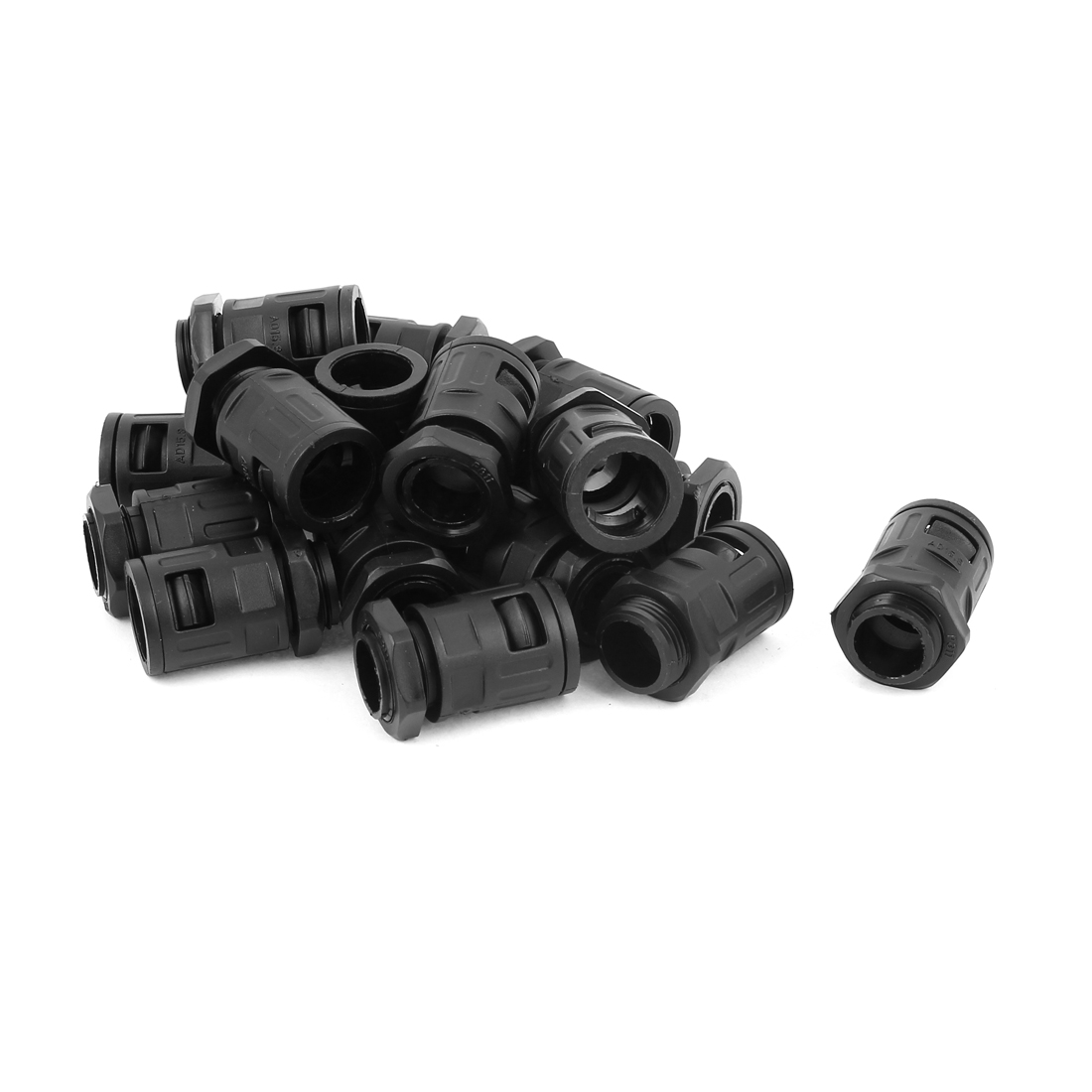 AD15.8 Plastic Flexible Corrugated Pipe Round Cable Hose Connector Black 18 Pcs