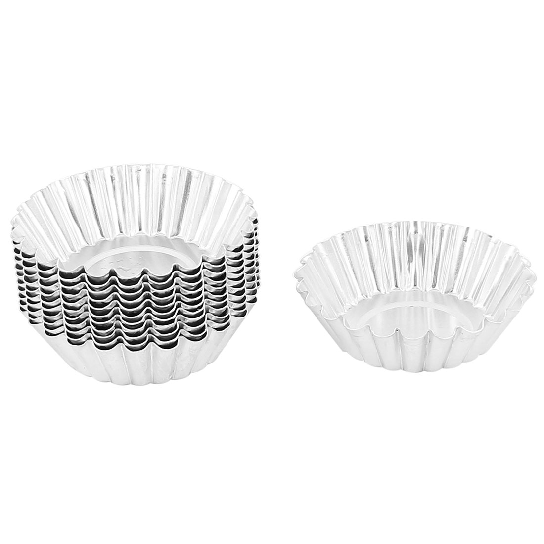 Egg Tart Cupcake Cake Aluminum Bowl Shape Lined Molds Mould Tin Baking Tool 12pcs