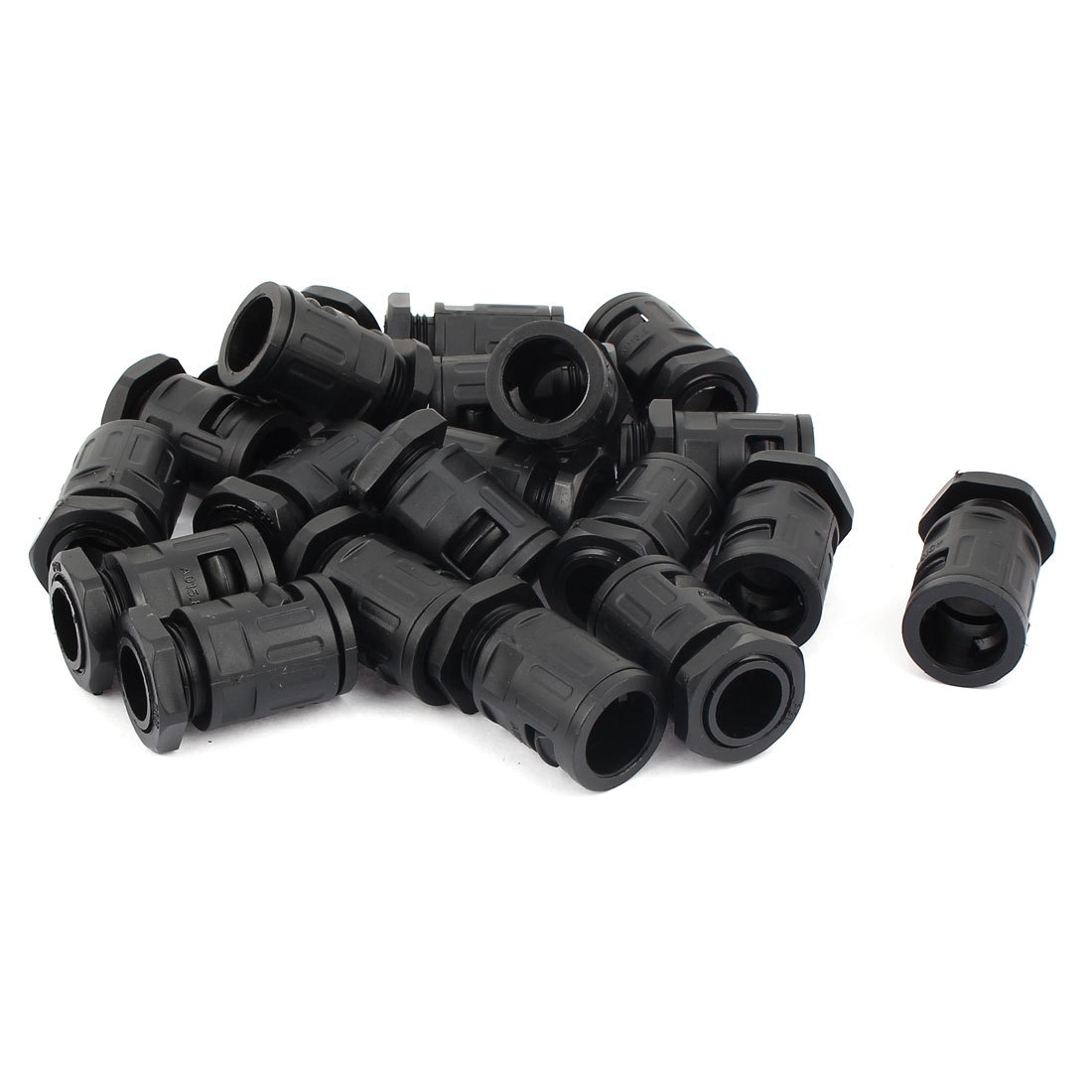 AD15.8 Plastic Flexible Corrugated Pipe Round Cable Hose Connector Black 20 Pcs