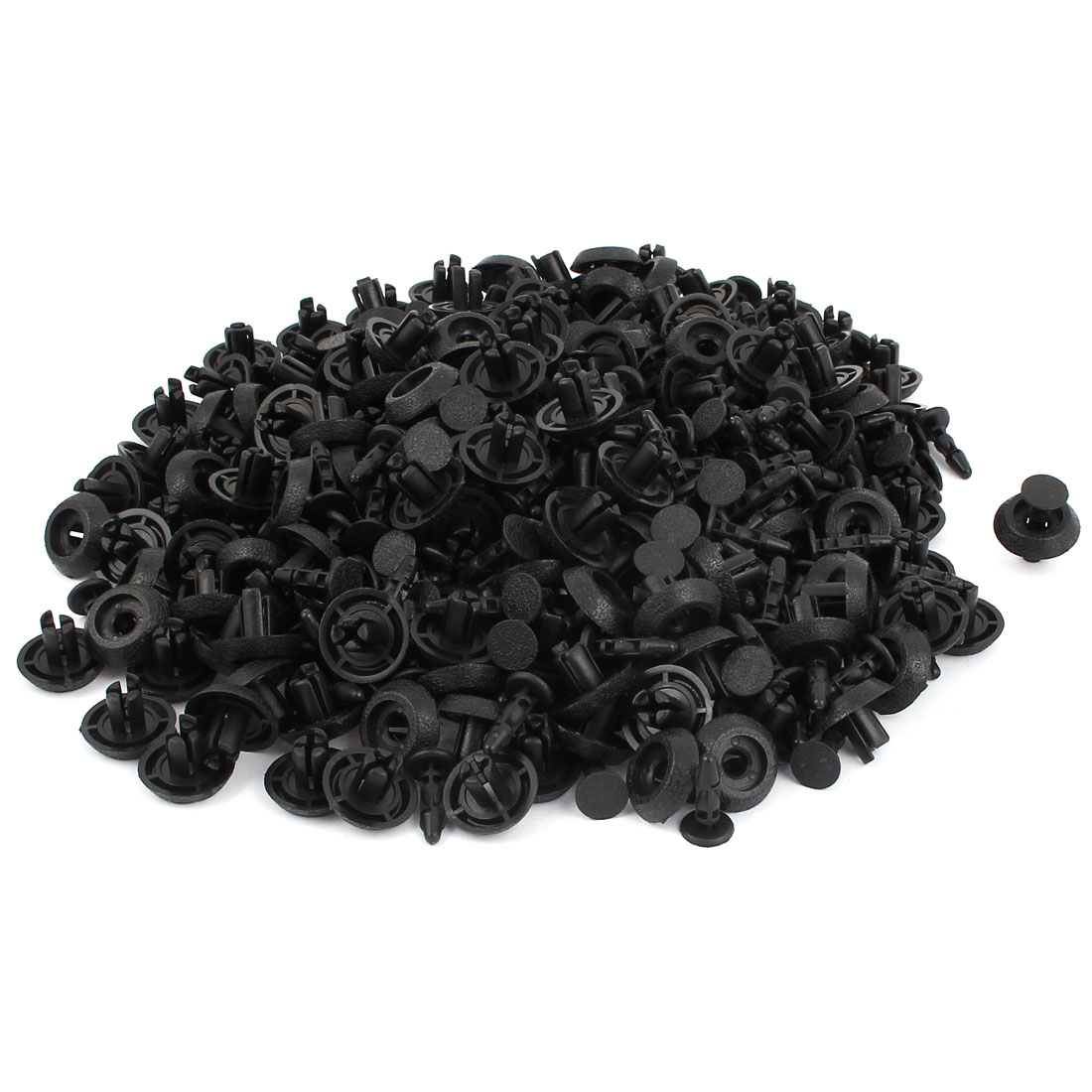 200pcs 7mm Dia Hole 18mm Head Black Plastic Rivets Fastener Fender Car Bumper Push Clips