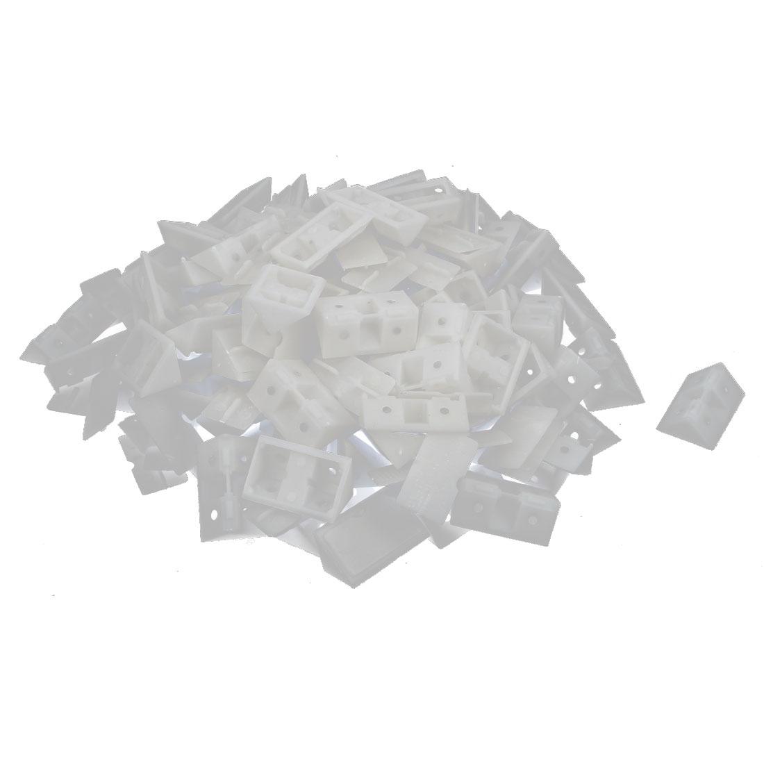 100pcs White Plastic Closet Cabinet 4 Holes Shelf Corner Brace Joint Brackets Support