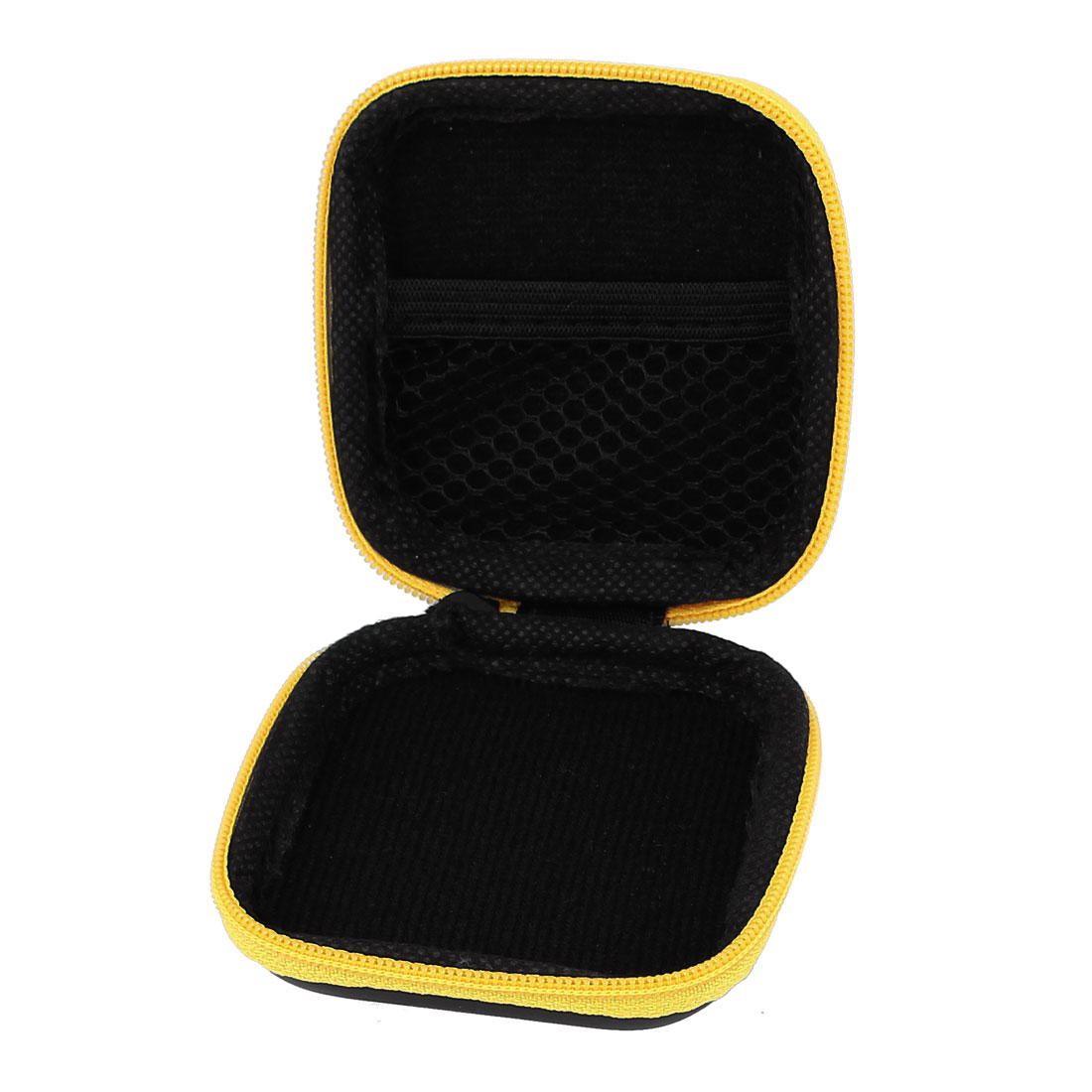 Earphone Cellphone Headphone Headset Earbuds Square Carrying Hold Case Pouch Storage Bag Box Pocket Yellow