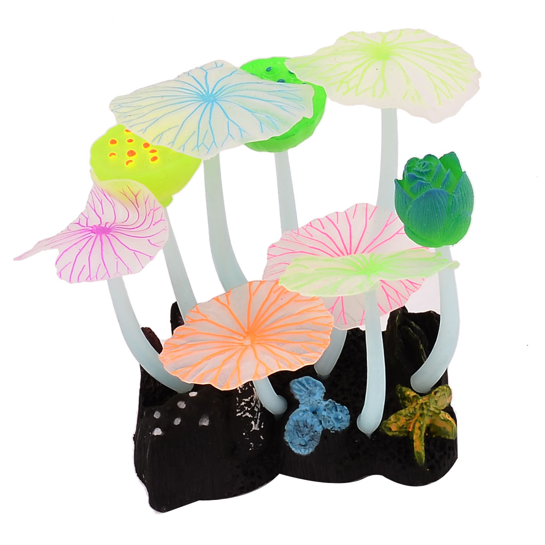 Aquarium Fish Tank Artificial Sucker Lotus Leaves Design Underwater Landscape Plant Ornament Multicolor