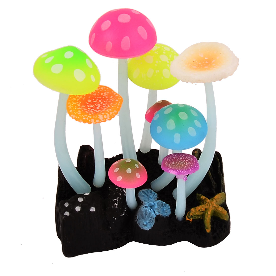 Aquarium Fish Tank Artificial Sucker Mushrooms Underwater Landscape Plant Ornament Multicolor