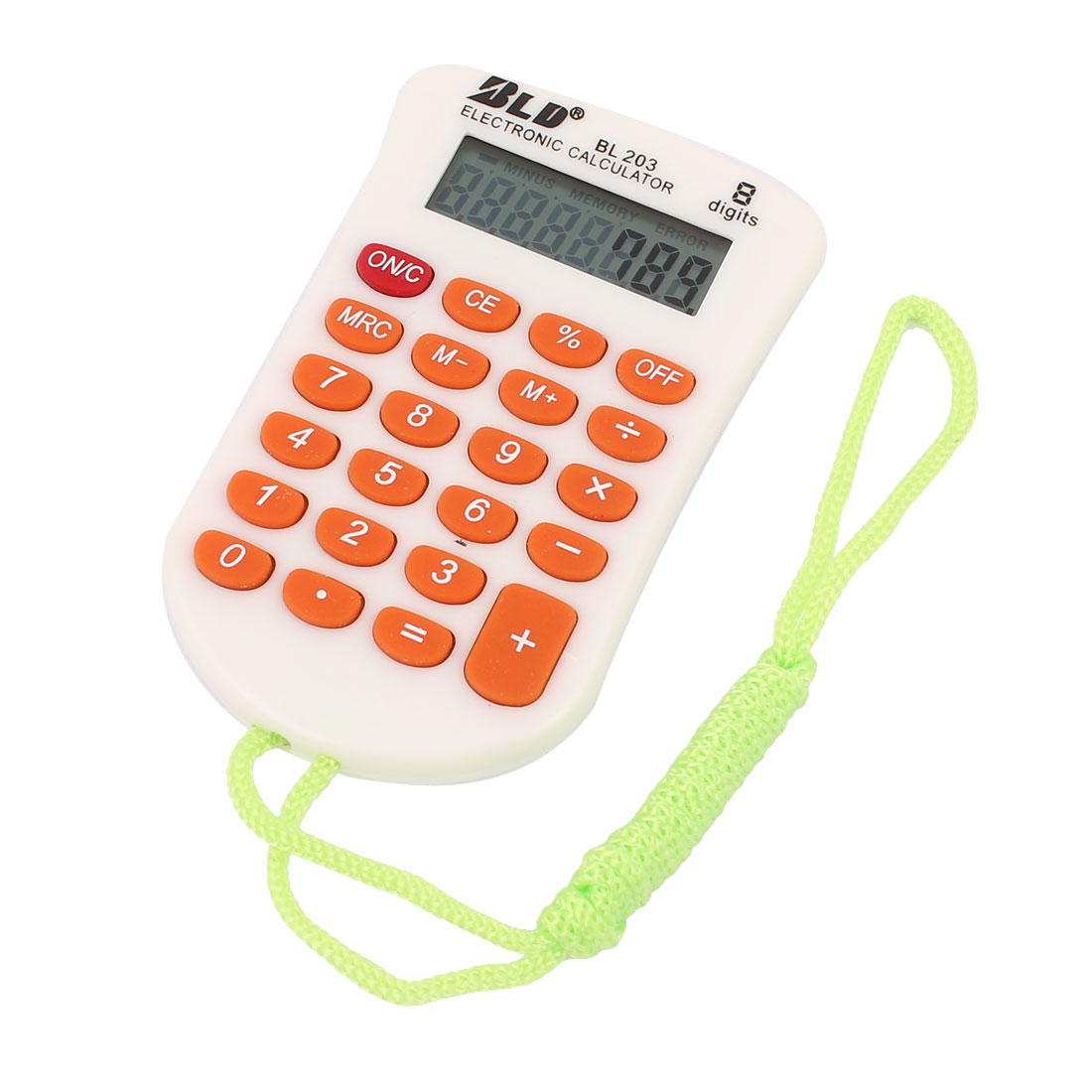 Office Plastic LCD Display 8 Digits Soft Rubber Keys Mini Pocket Electronic Calculator Orange White w Strap