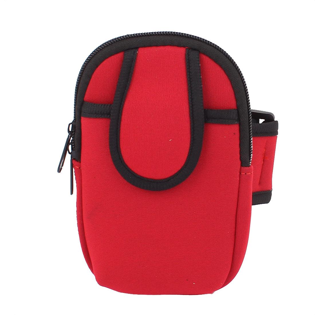 Outdoor Sport Zipper Closure Wrist Arm Pouch Cellphone Bag Package Holder Red