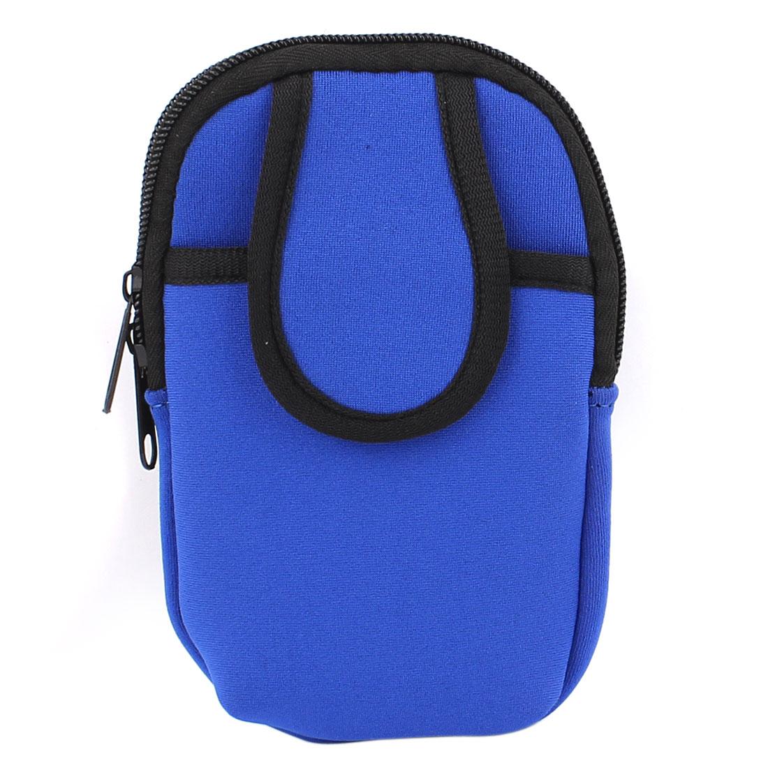 Outdoor Sport Zipper Closure Wrist Pouch Cellphone Bag Arm Package Holder Blue
