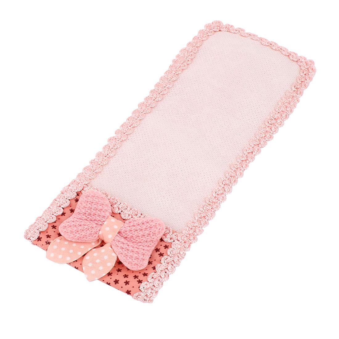 Dustproof Lace Trim Bowknot Detailing Remote Control Case Cover TV Protector 17cm x 7.2cm Pink