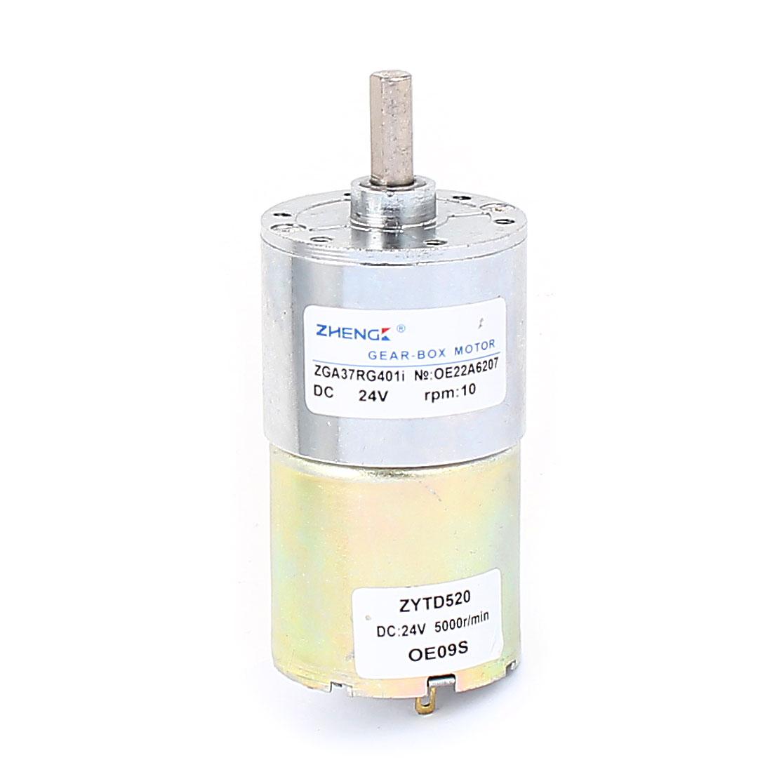 6mm Dia Shaft Soldering Pin Gear Box Speed Reducing DC Geared Motor 24V 10RPM