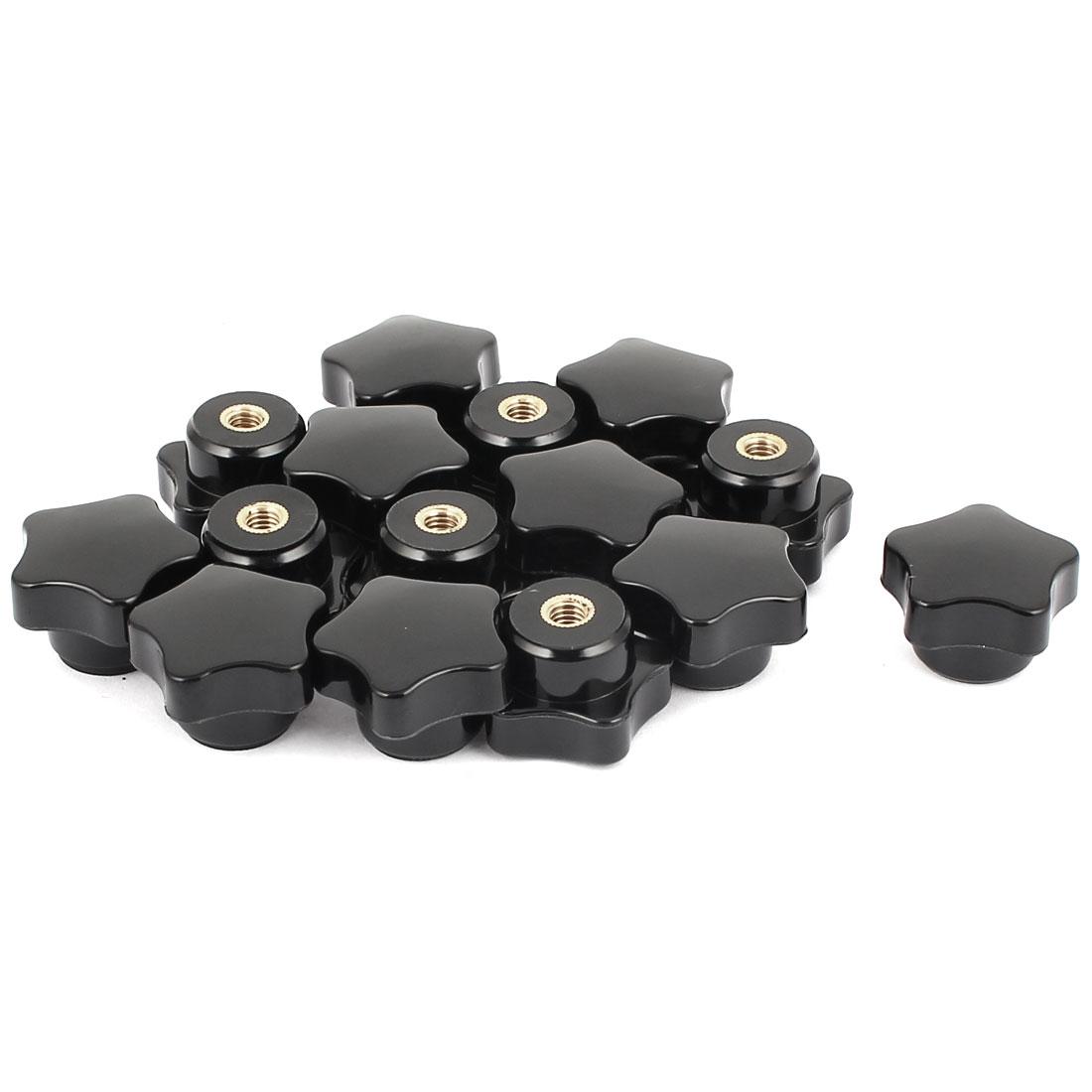 M6 Female Threaded 30mm Diameter Star Cap Plastic Clamping Screw Nuts Knob Handle 15pcs