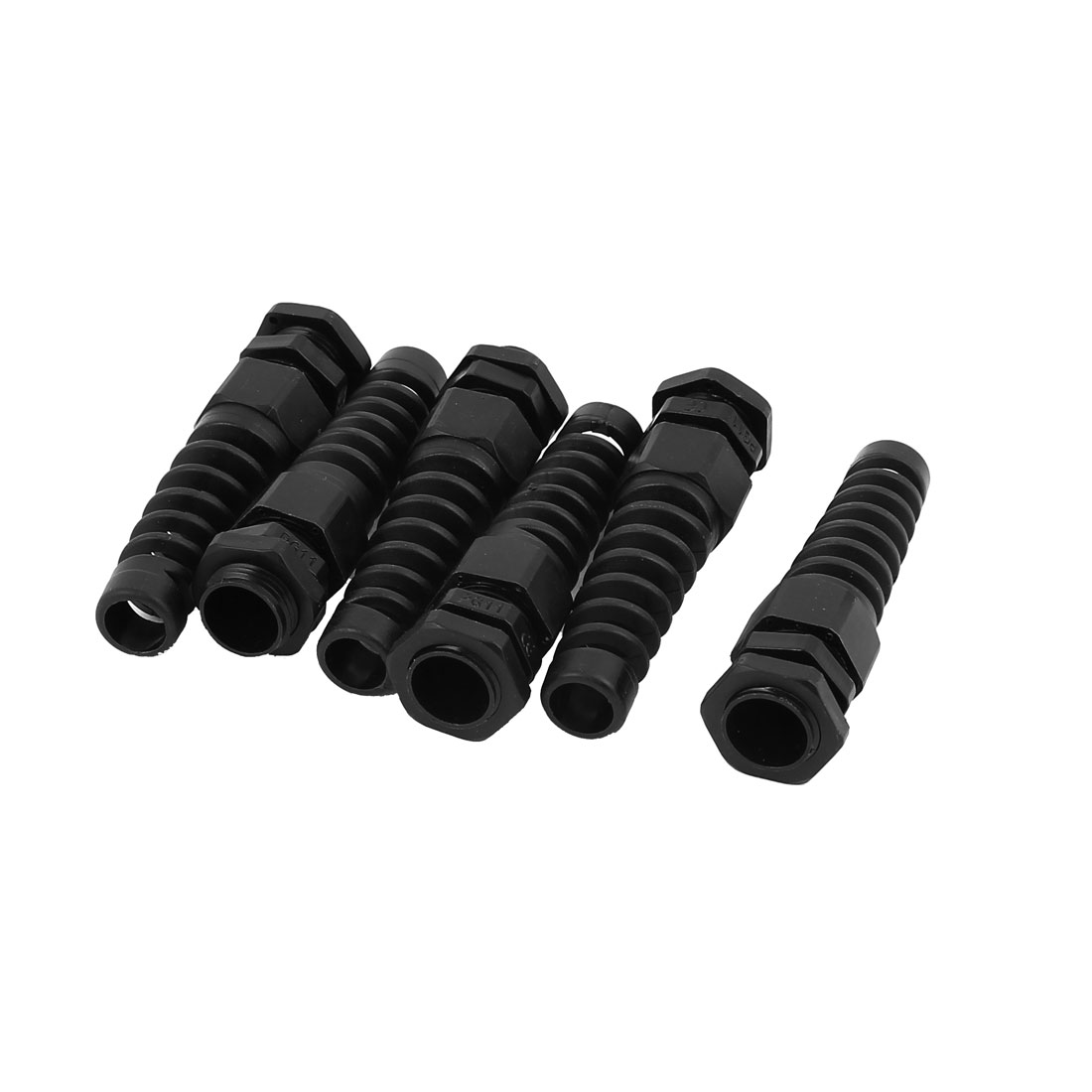PG11 18mm Male Thread Dia Water Resistant Cables Fixing Gland Connector Fastener Black 6pcs