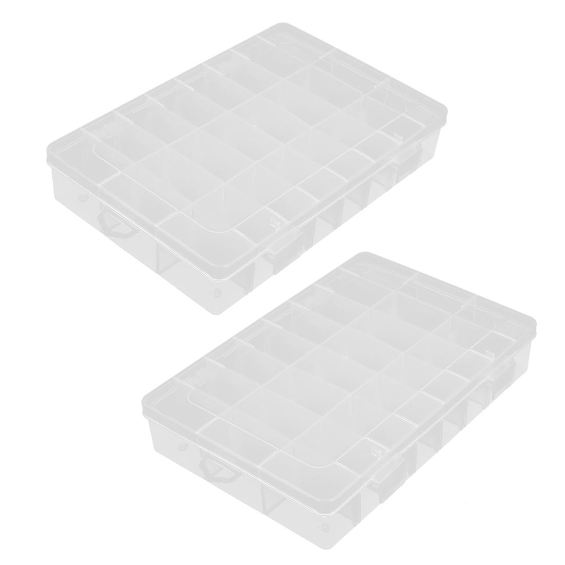 2pcs Clear White Plastic Detachable 24 Slots Clip On Storage Container Holder Box Case