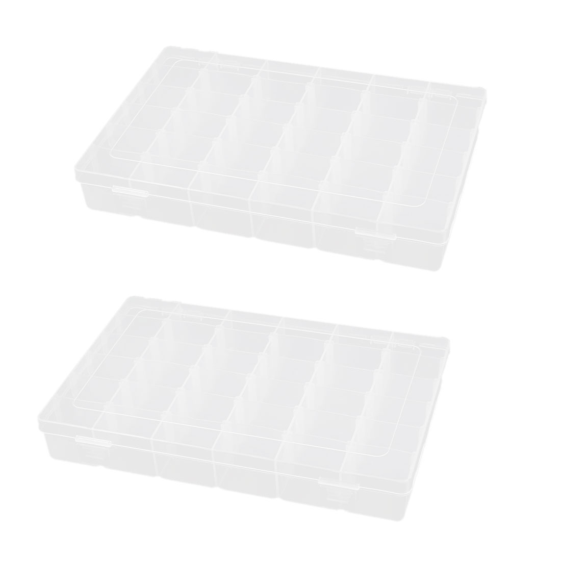 2pcs Clear White Plastic Detachable 36 Components Clip On Storage Container Holder Box Case