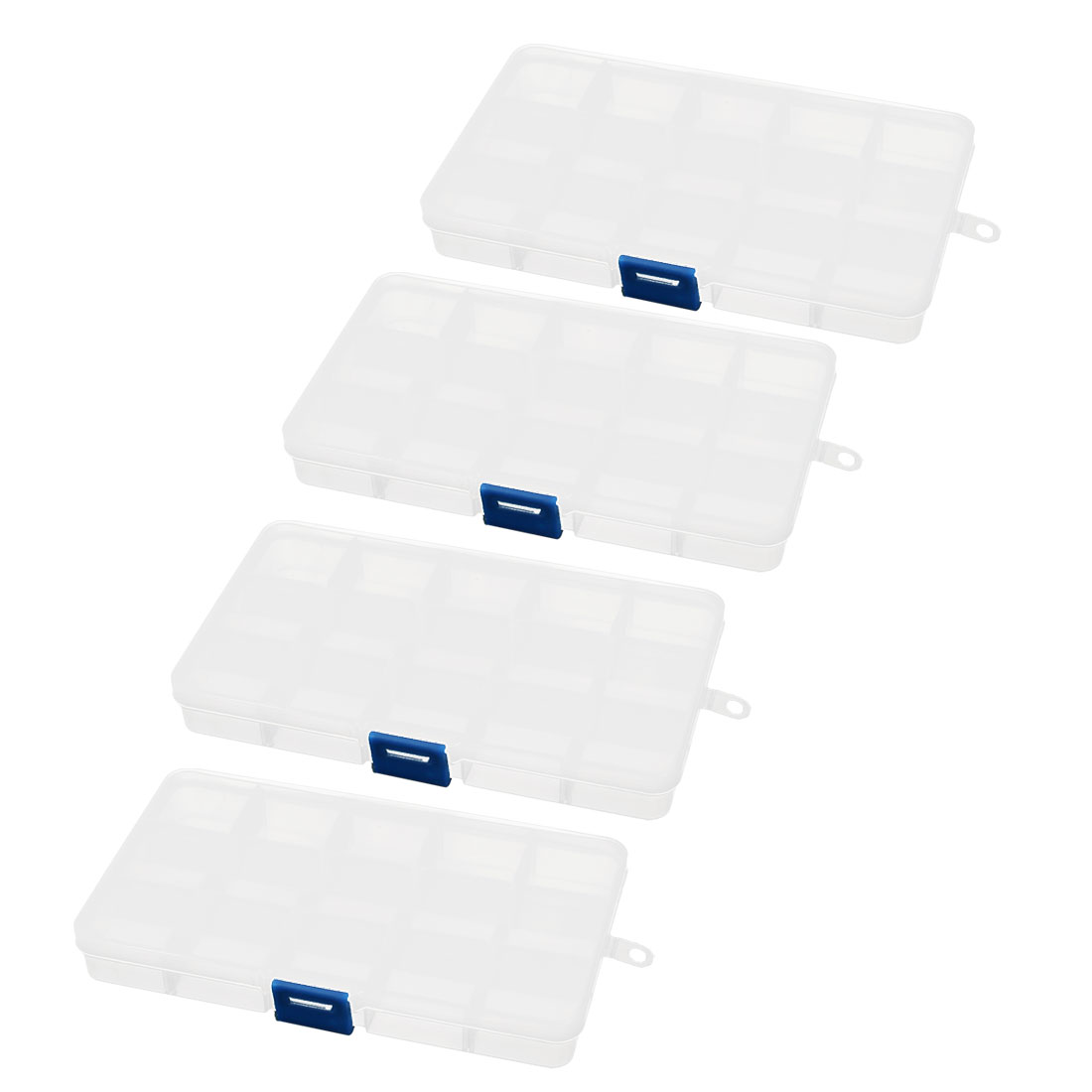 4pcs Clear White Plastic Rectangular Detachable 15 Slots Screws Storage Container Box Case