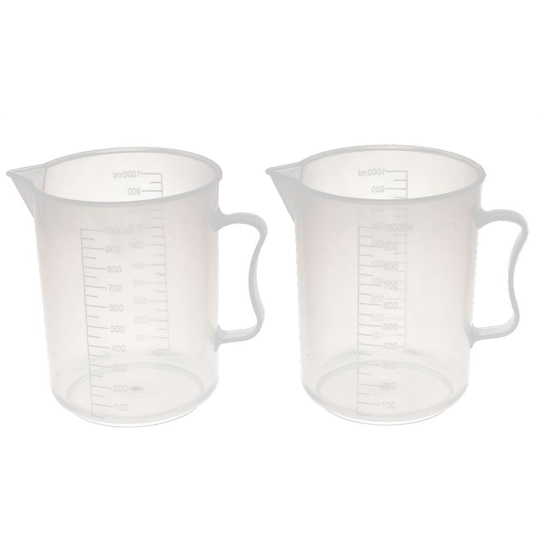 Lab Laboratory Chemistry Experiment 1000mL Graduated Plastic Liquid Testing Measuring Measure Cup 2pcs