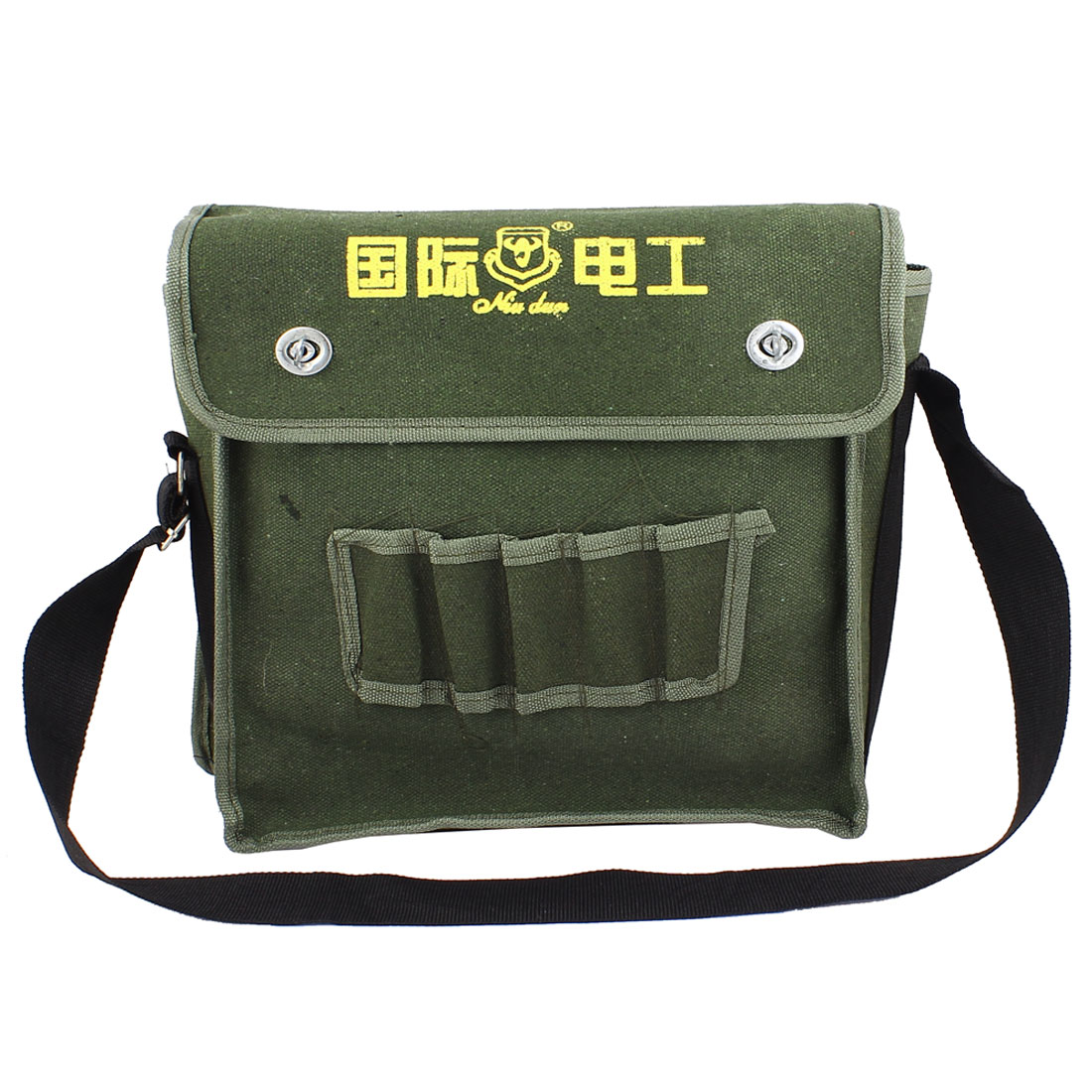 Army Green Canvas Turn Lock Clasp Closure Adjustable Shoulder Strap Electrician Tool Storage Bag Holder