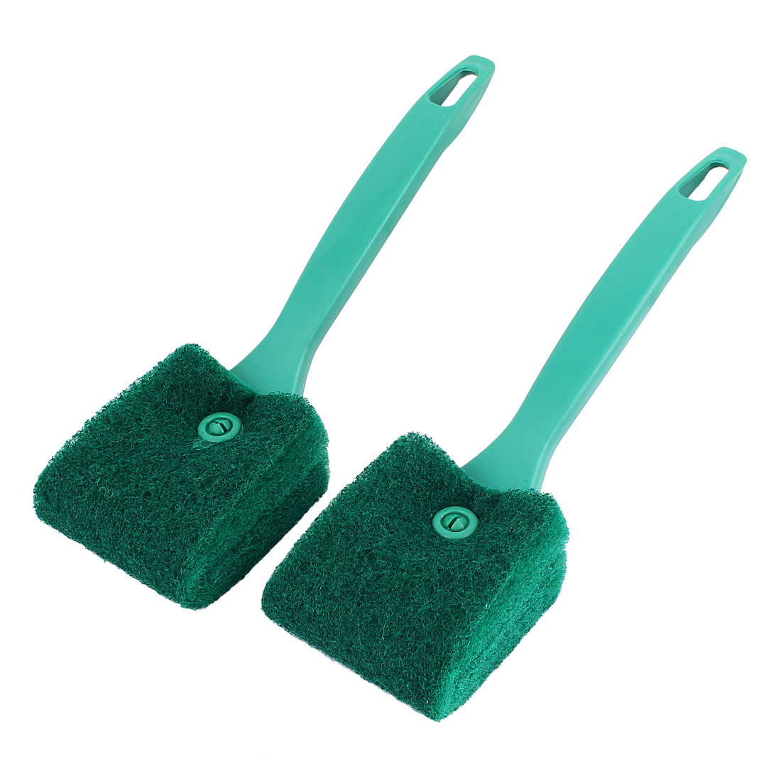 2pcs Green Plastic Grip Aquarium Algae Glass Double Sides Sponge Clean Brush Scrubber Cleaner
