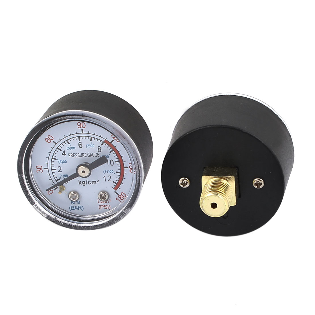 Pneumatic Air Compressor 1/8BSP Male Threaded Round Dial 0-12 Bar 0-180PSI Pressure Measure Gauge 2pcs
