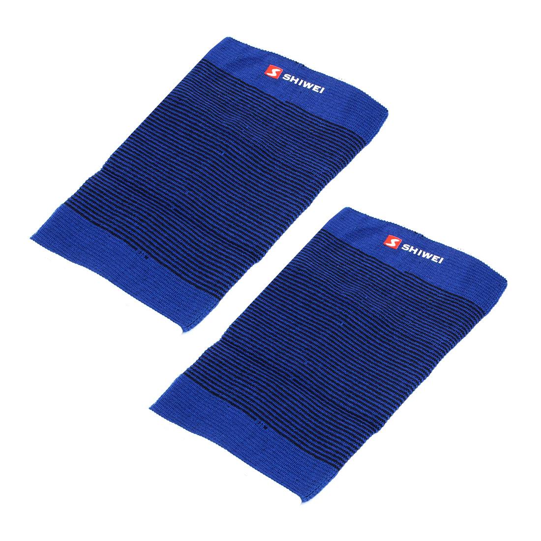 Sports Black Blue Stripe Elastic Knee Support Fastener Wrap Sleeve Guard Protector Pair