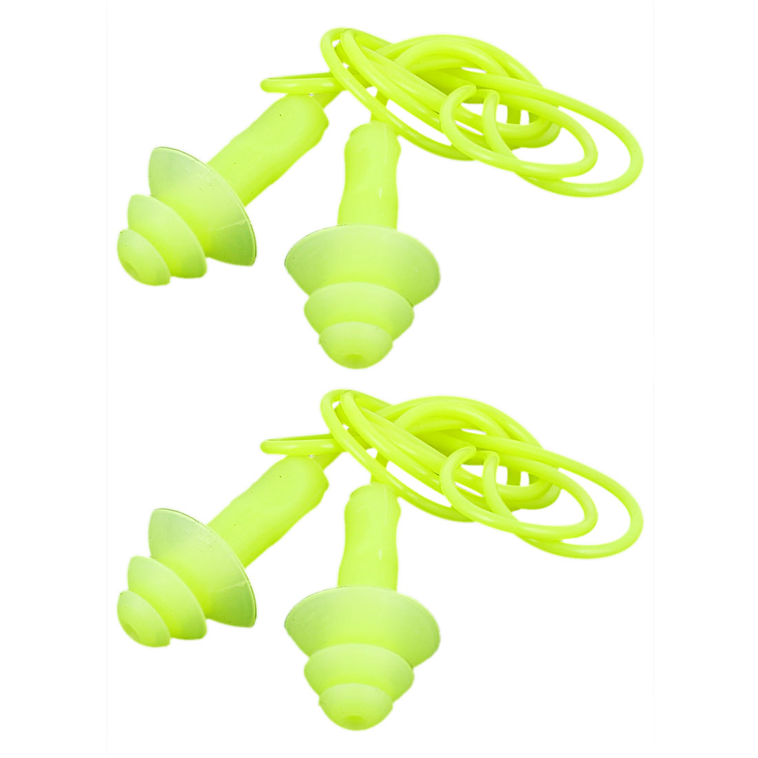 Water Sports Swimming Silicone Hearing Protector Earplugs Yellow 2pcs
