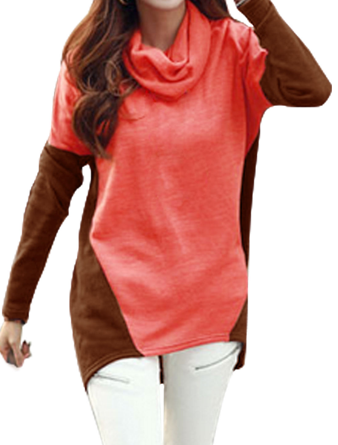 Women Cowl Neck Color Block High Low Hem Tunic Top Pink Brown XS