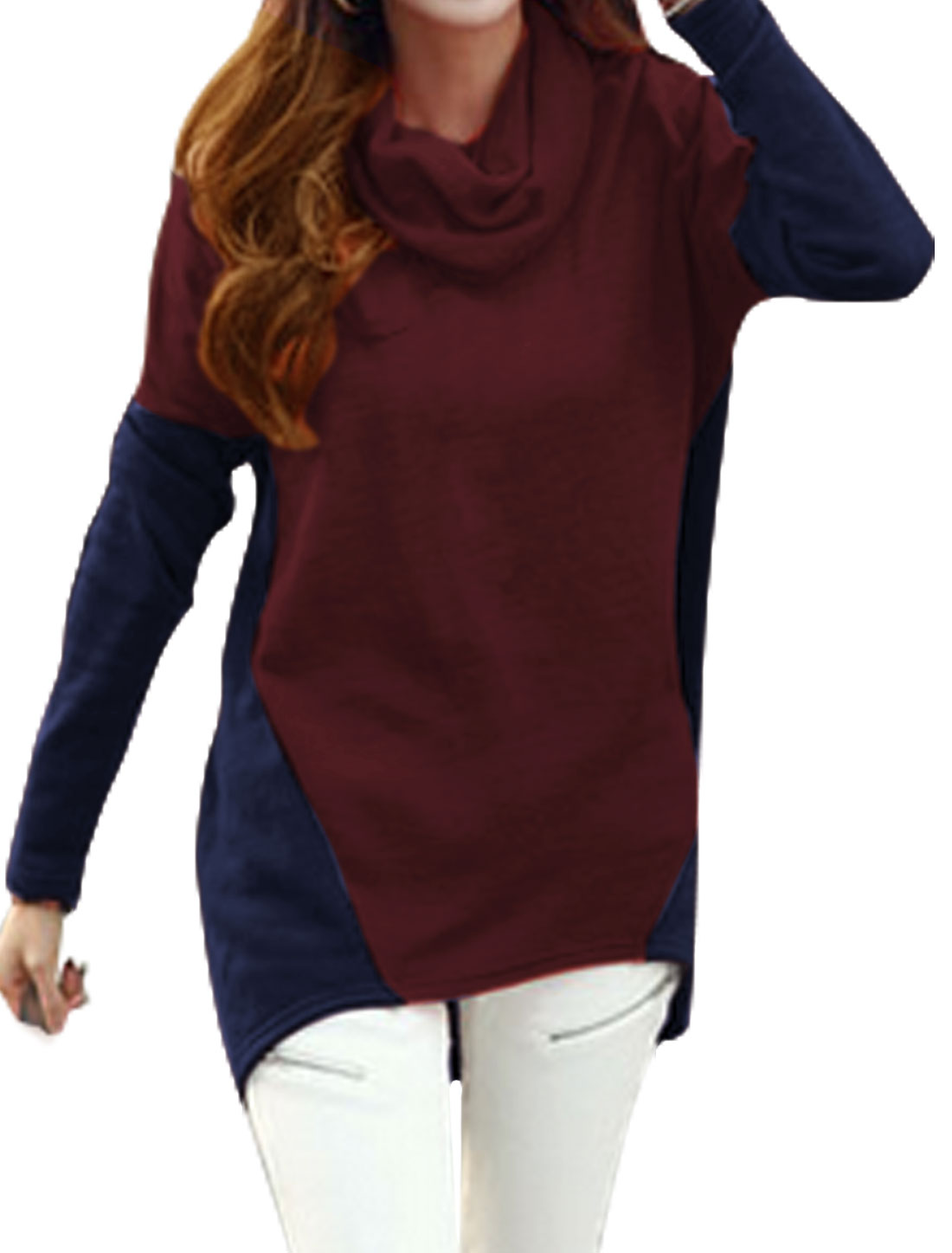 Women Cowl Neck Color Block High Low Hem Tunic Top Red Blue XS