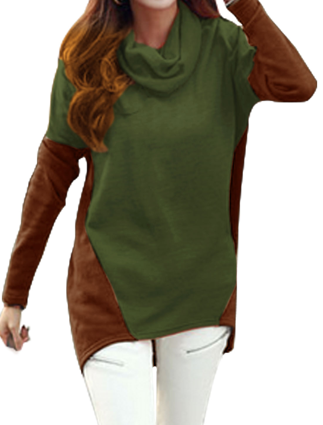 Women Cowl Neck Color Block High Low Hem Tunic Top Green Brown XS