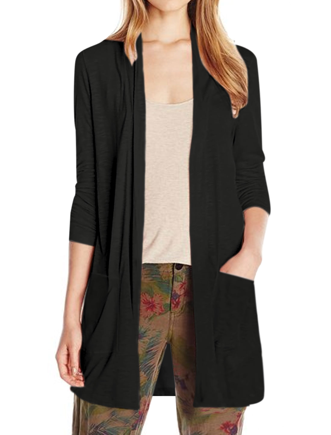 Women Shawl Neck Two Pockets Front Tunic Cardigan Black XS