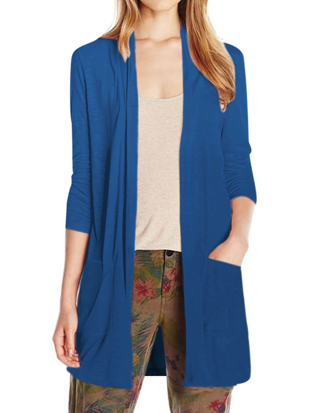 Women Shawl Neck Two Pockets Front Tunic Cardigan Blue XS