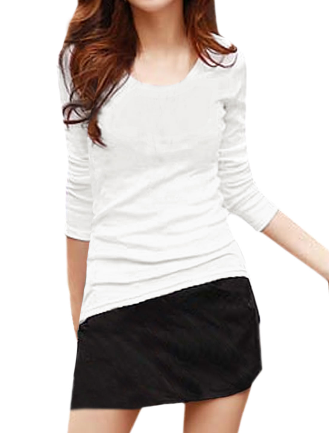 Women Long Sleeves Asymmetric Hem Slim Fit Tee Shirt White M