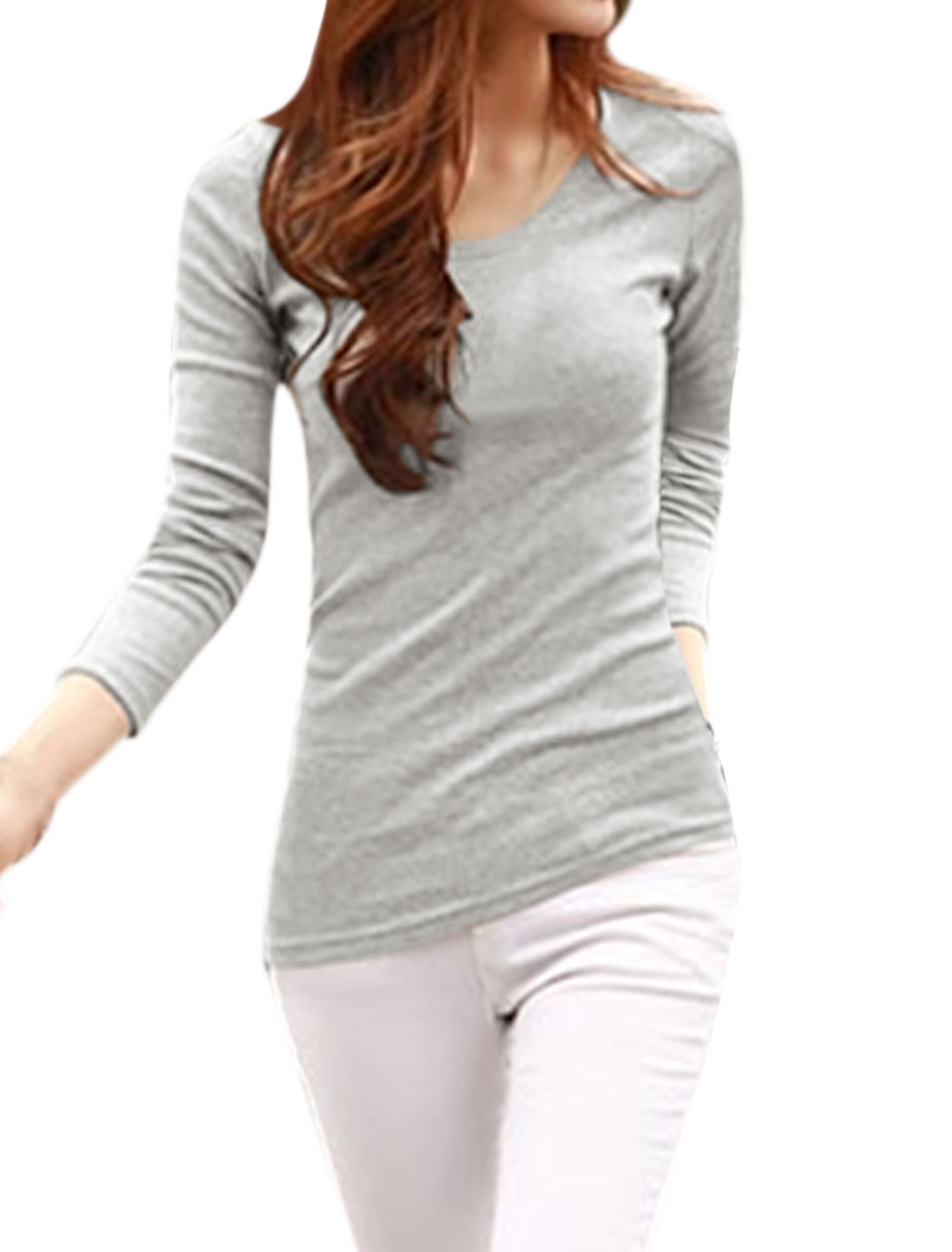 Women Long Sleeves Asymmetric Hem Slim Fit Tee Shirt Gray M