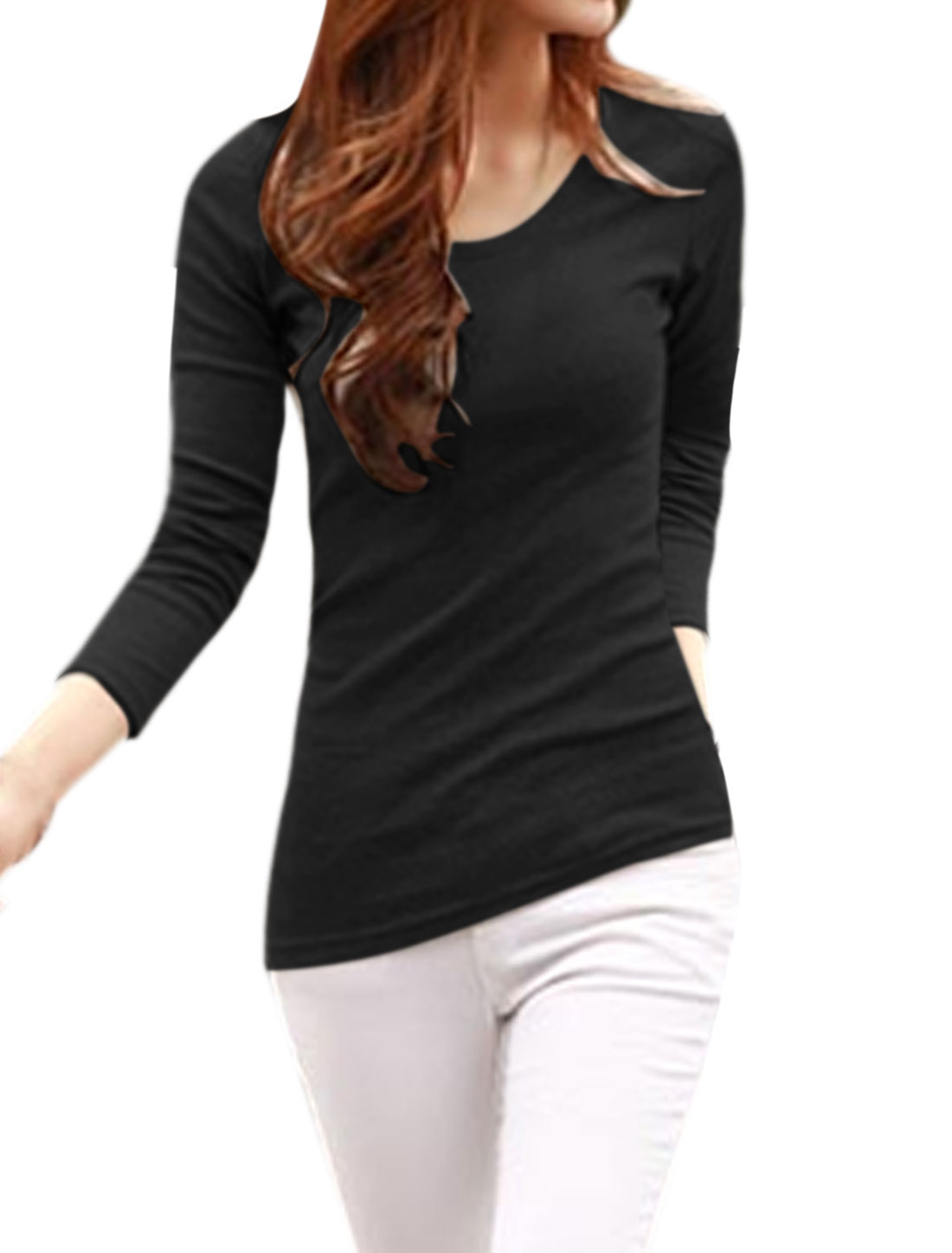 Women Long Sleeves Asymmetric Hem Slim Fit Tee Shirt Black M
