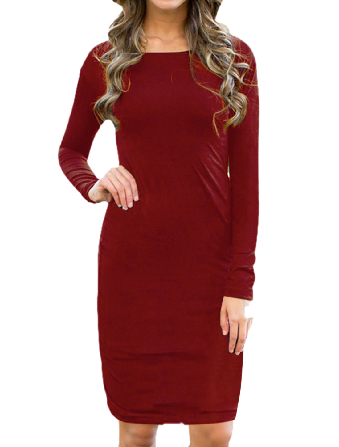 Ladies Drop Shoulder Round Neck Mini Pencil Dress Red M