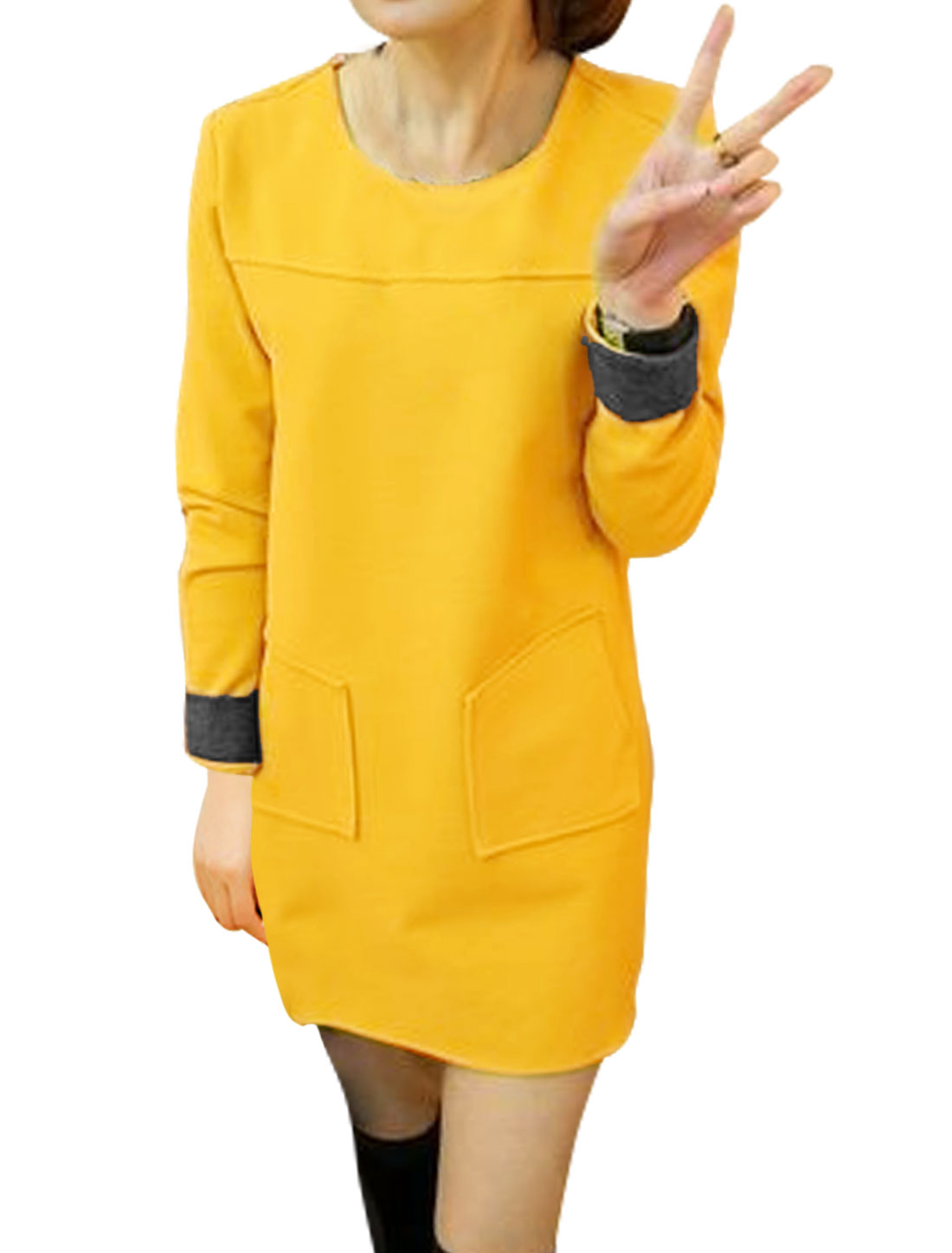 Women Round Neck Patch Pockets Worsted Tunic Dress Yellow S