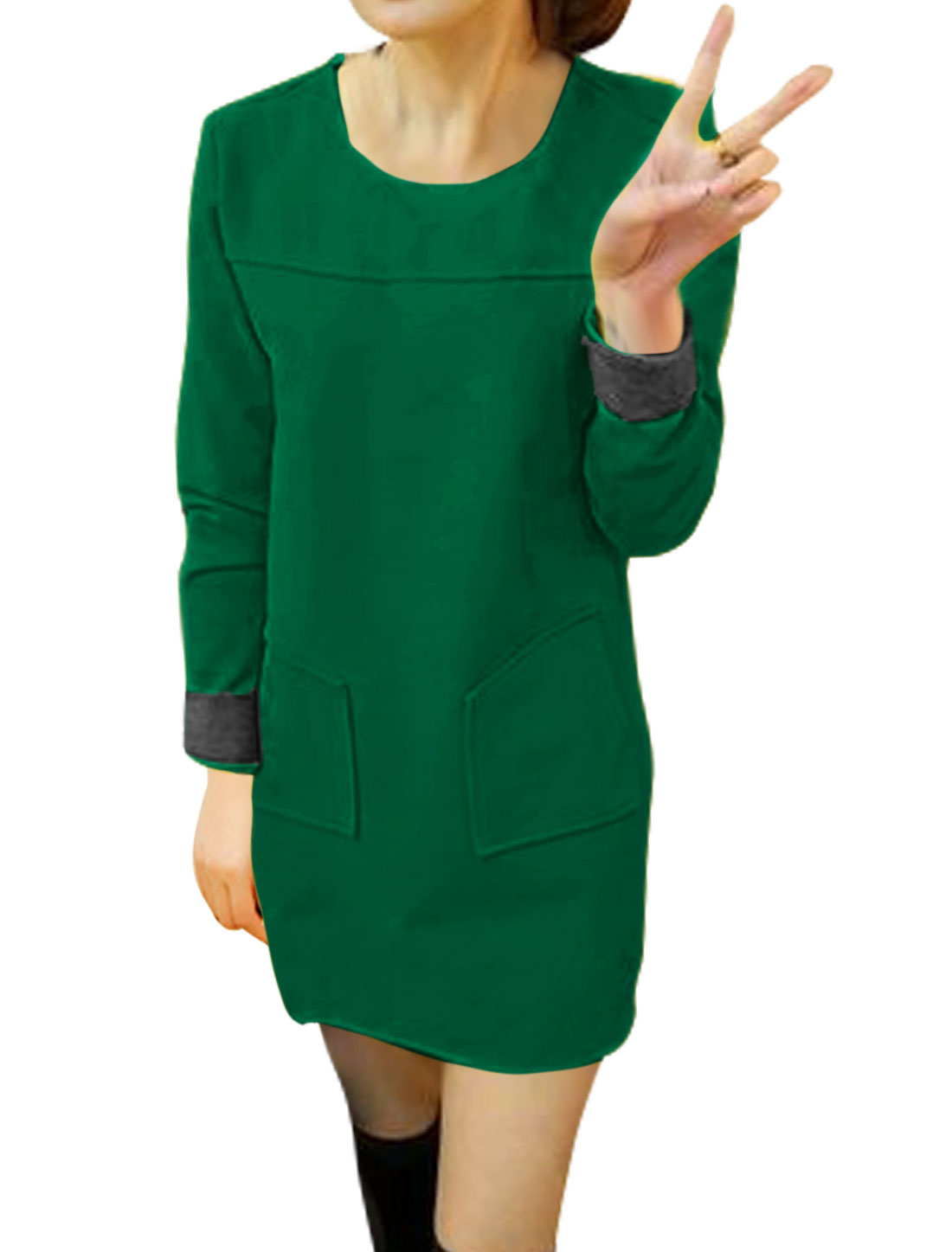 Women Round Neck Patch Pockets Worsted Tunic Dress Green S