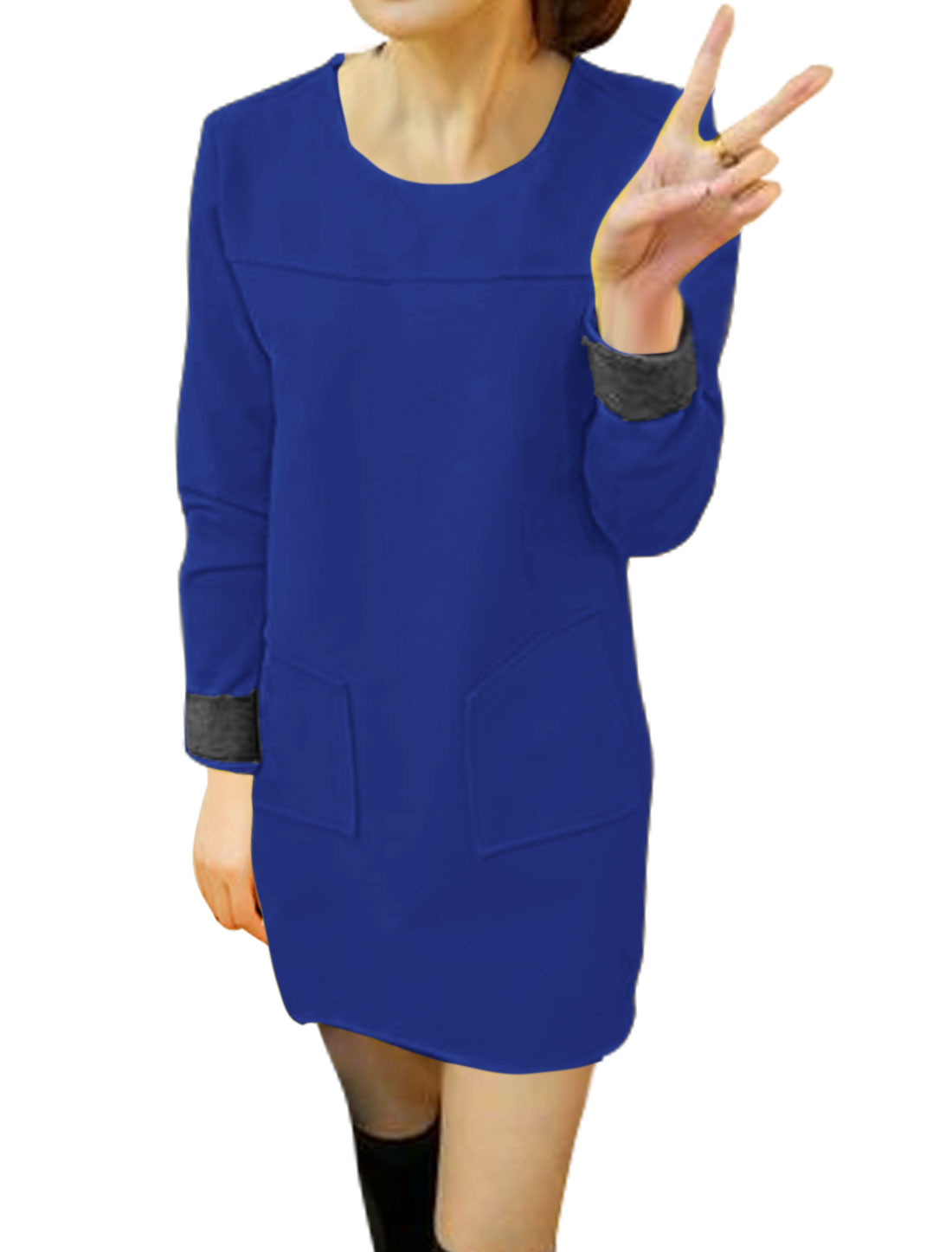 Women Round Neck Patch Pockets Worsted Tunic Dress Blue S