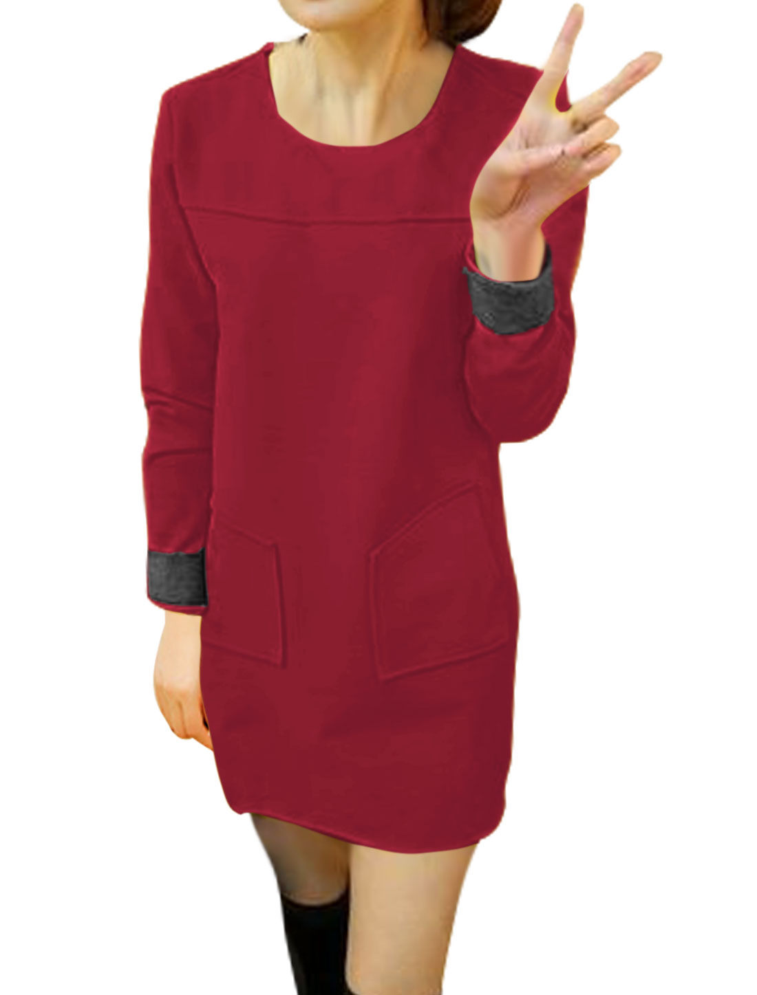 Women Round Neck Patch Pockets Worsted Tunic Dress Red S