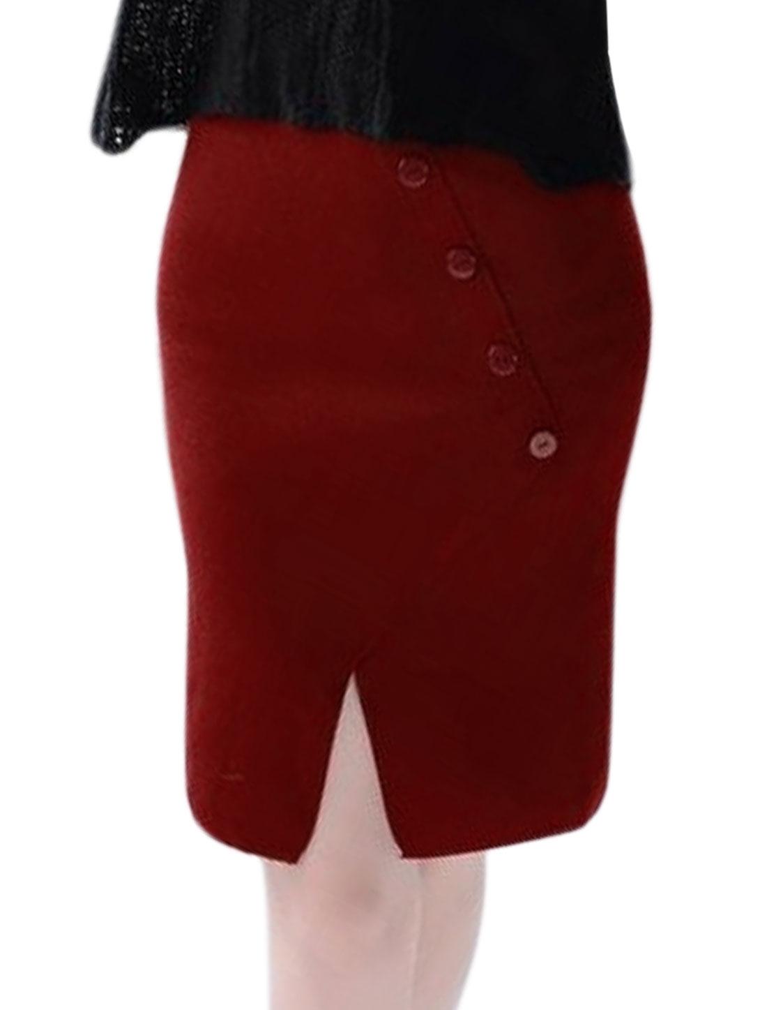 Women High Waist Buttons Decor Split Front Knitted Straight Skirt Red XS