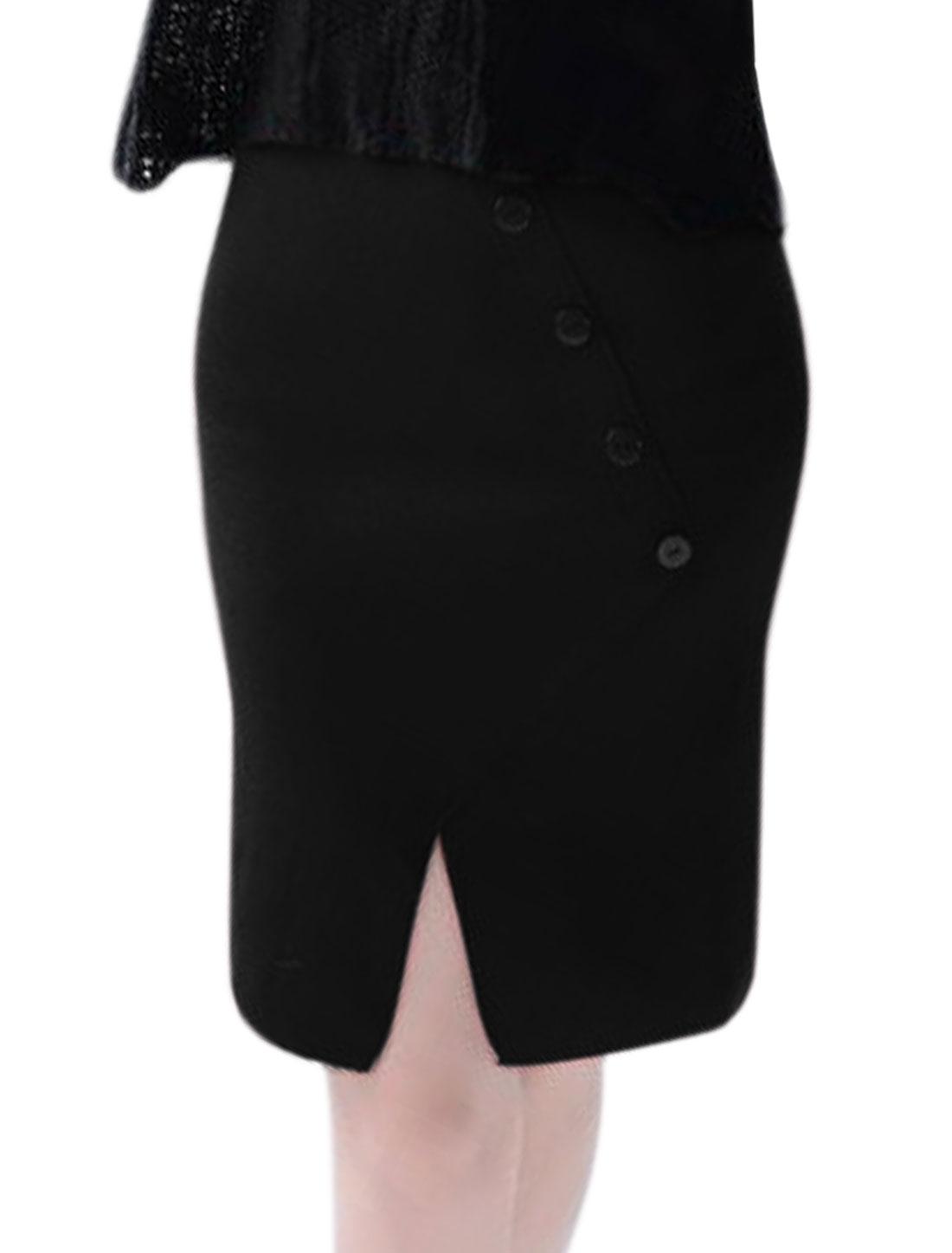 Women High Waist Buttons Decor Split Front Knitted Straight Skirt Black XS