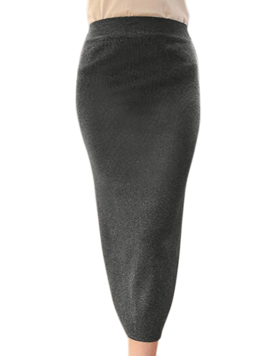 Women Elastic Waist Split Back Knitted Midi Straight Skirt Gray XS