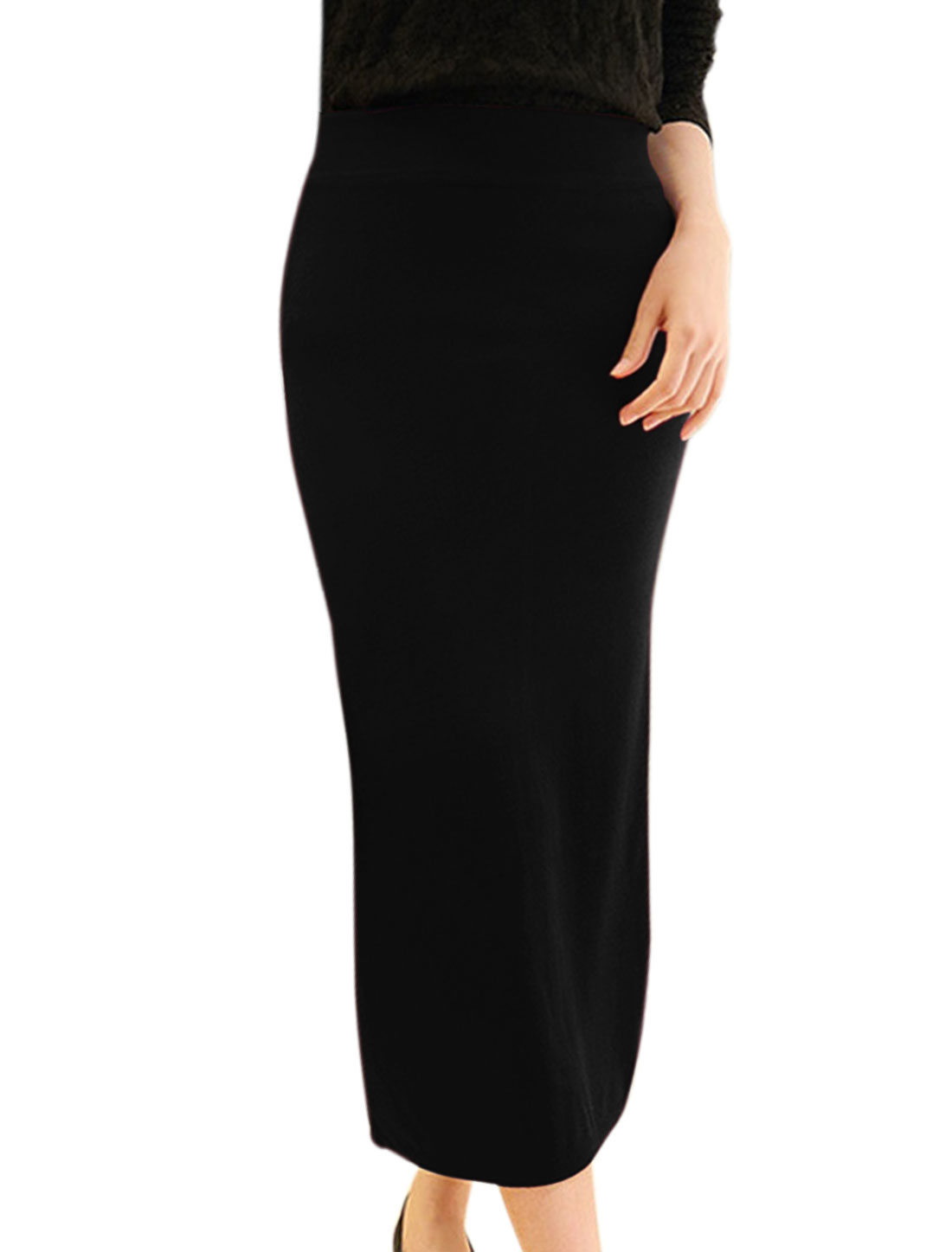 Women Elastic Waist Split Back Knitted Midi Straight Skirt Black XS
