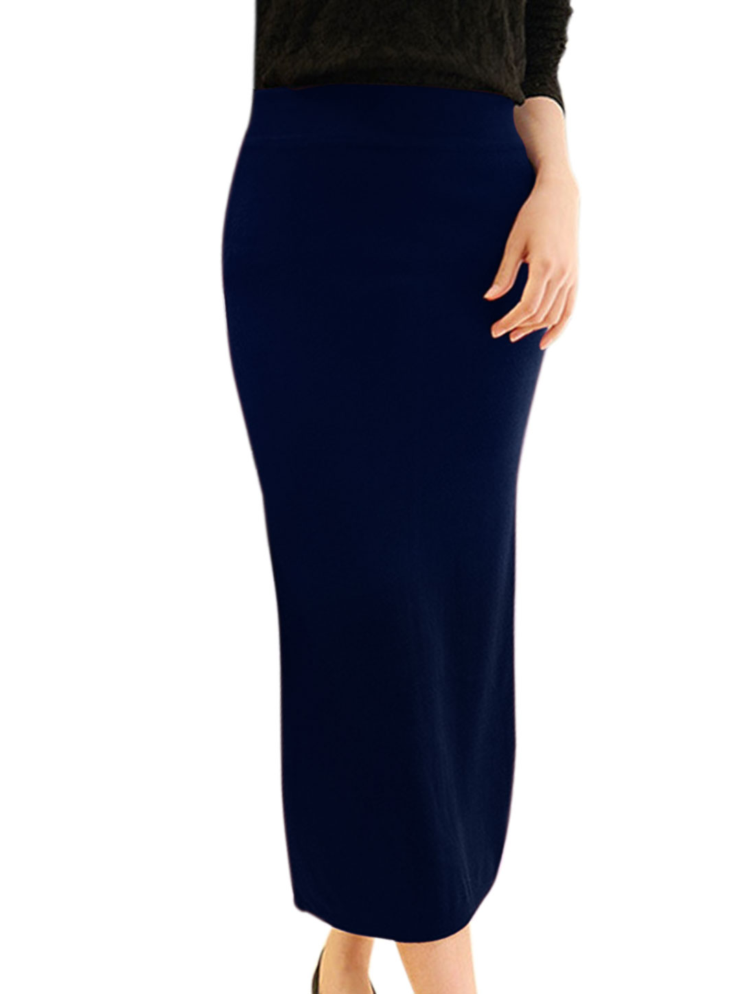 Women Elastic Waist Split Back Knitted Midi Straight Skirt Blue XS