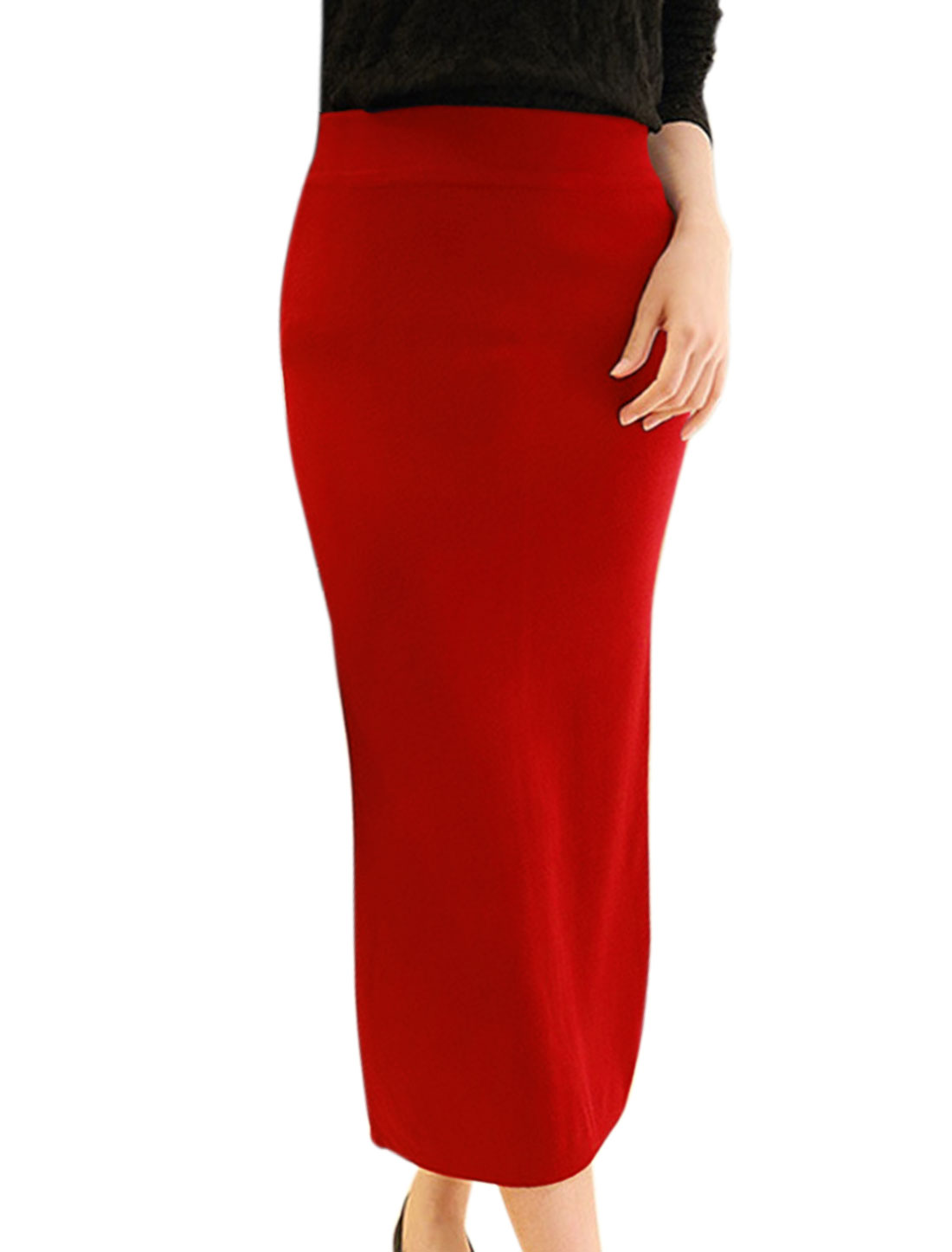 Women Elastic Waist Split Back Knitted Midi Straight Skirt Red XS