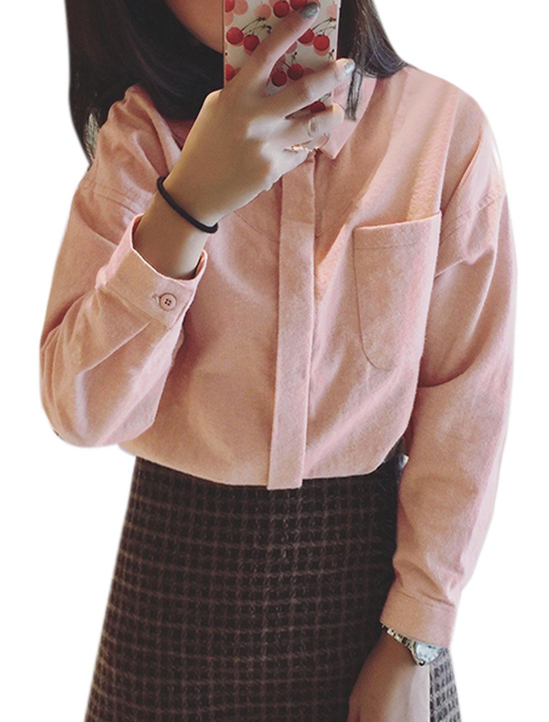 Women Hidden Placket One Pocket High Low Hem Shirt Pink XS