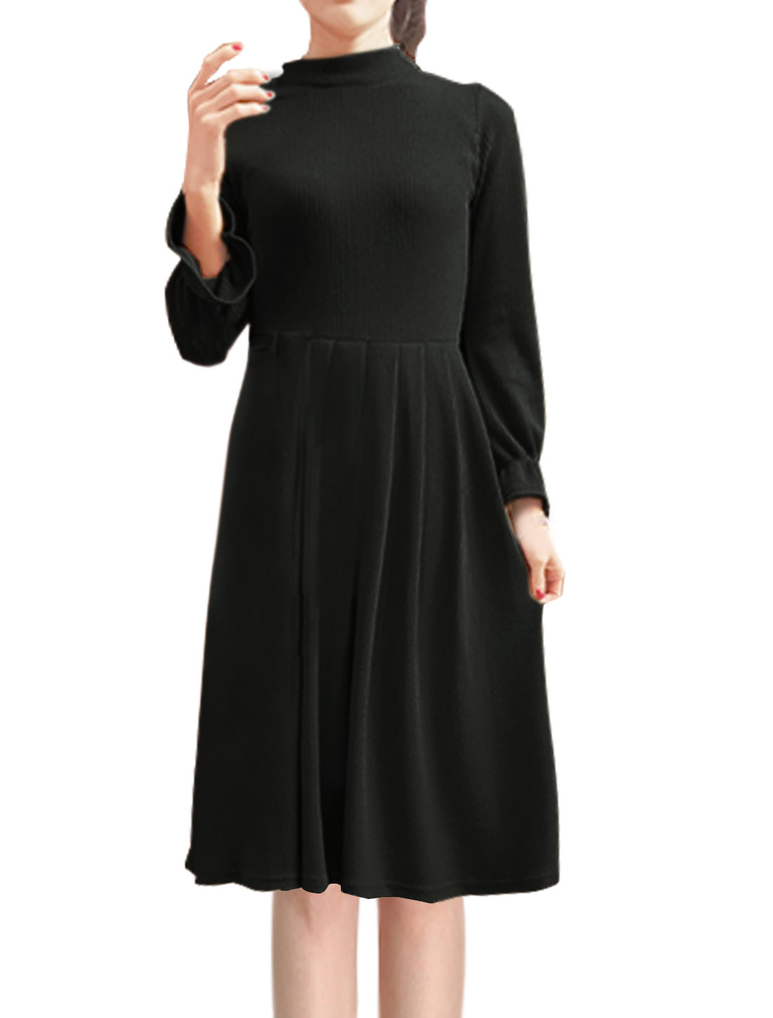 Women Mock Neck Ruffled Sleeves Ribbed Midi Pleated Dress Black XS