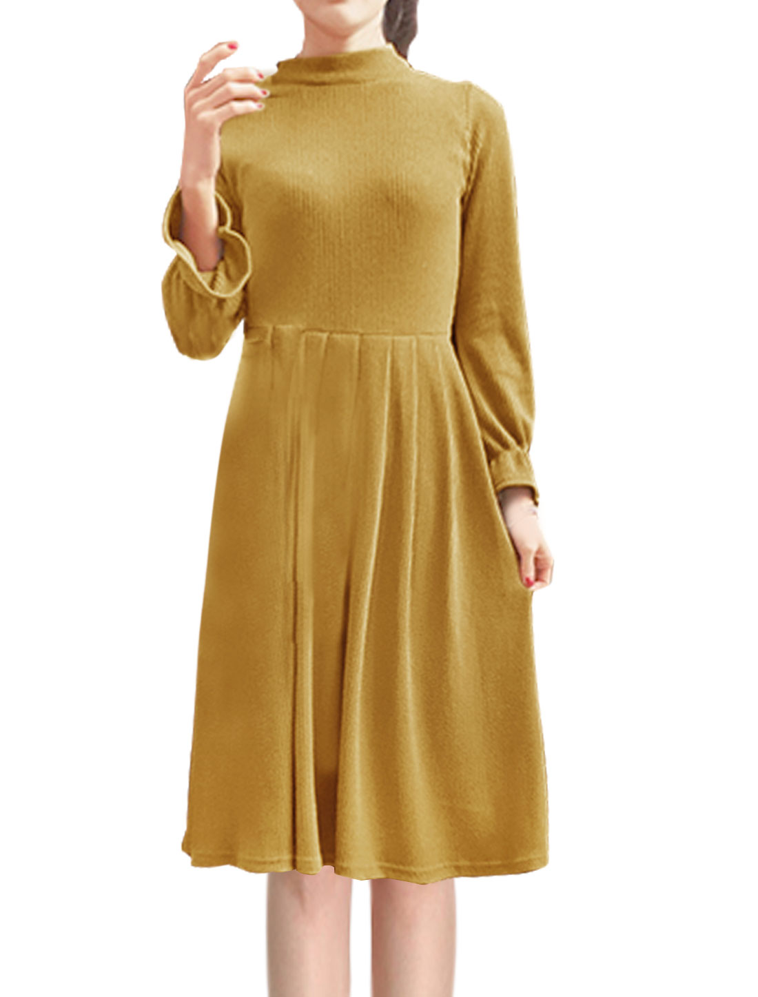 Women Mock Neck Ruffled Sleeves Ribbed Midi Pleated Dress Brown XS