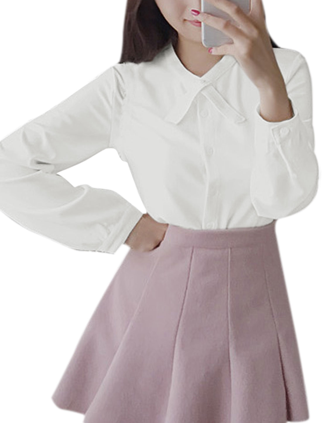 Women Crossover Front Stand Collar Slim Fit Shirt White XS